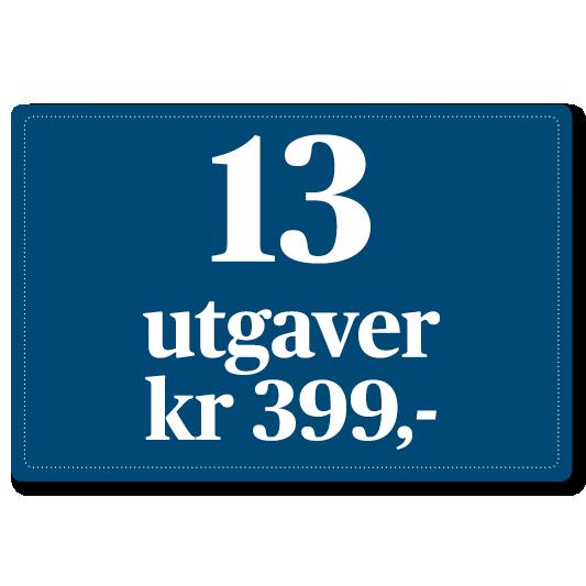 13 utgaver for kroner 399,-